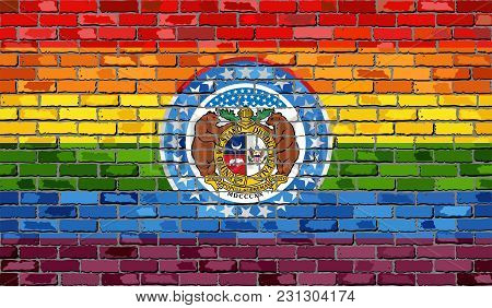 Brick Wall Missouri And Gay Flags - Illustration, Rainbow Flag On Brick Textured Background,  Abstra