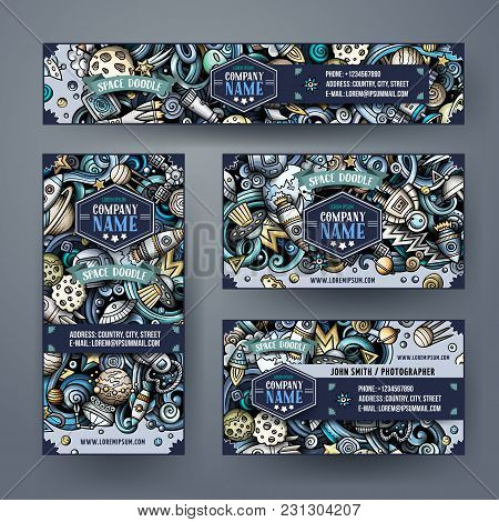 Corporate Identity Vector Templates Set Design With Doodles Hand Drawn Space Theme. Colorful Banner,