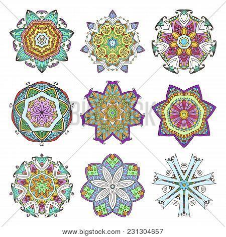 Mandala Set. Abstract Decorative Background. Islam, Arabic, Oriental, Indian, Ottoman, Yoga Motifs.