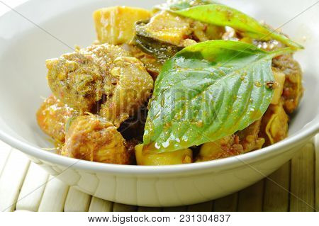 Spicy Fried Chicken With Bamboo Shoot Curry On Bowl