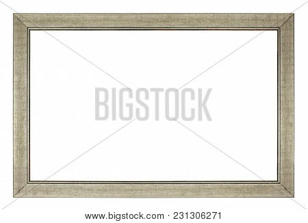 Simple Silver Rectangle Frame On A White Background, Isolated