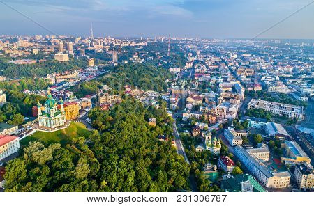 Aerial View Of Saint Andrews Church And Andriyivskyy Descent, Cityscape Of Podil. Kiev, The Capital