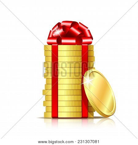 Stack Of Coins Wrapped With Red Ribbon And Gift Bow. Concept Of Pecuniary Profit, Finance Success Or