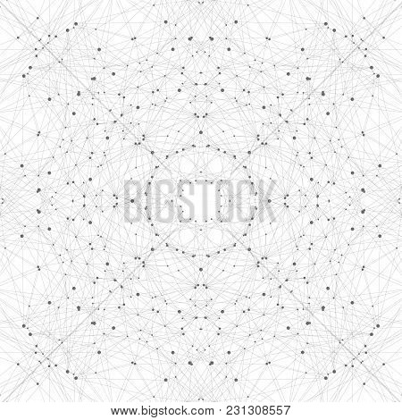 Geometric Abstract Background With Connected Line And Dots. Graphic Background For Your Design,  Ill