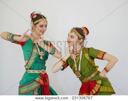 Beautiful Indian Girls Dancer Indian Dance. Indian Classical Bharatanatyam Dance.
