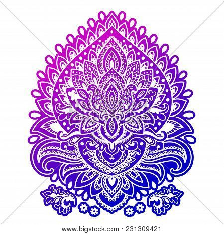 Bohemian Indian Mandala Towel Print. Vintage Henna Tattoo Style Indian Medallion. Ethnic Ornament Co