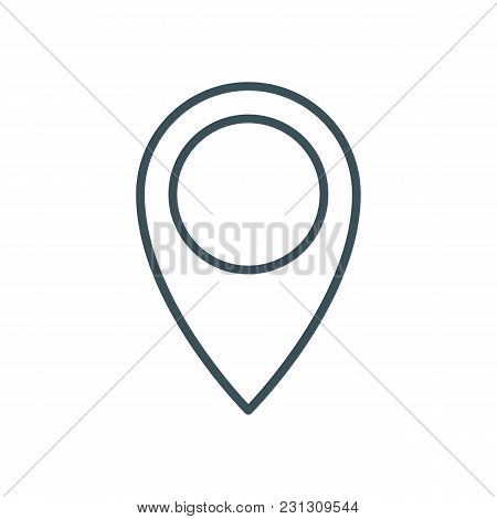 Thin Line Pin Drop Icon. Outline Geolocation Sign Or Symbol. Location Map Pointer. Isolated On White