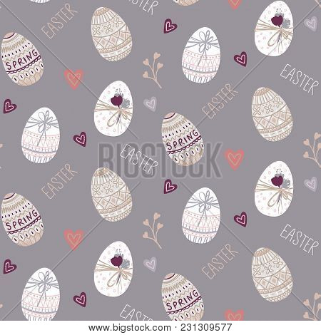 Vector Easter Seamless Pattern With Eggs, Hearts, Flowers. Spring Design. Happy Easter Background. I