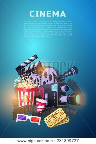 Movie Elements Set. Vintage Cinema, Entertainment And Recreation With Popcorn. Retro Poster Backgrou
