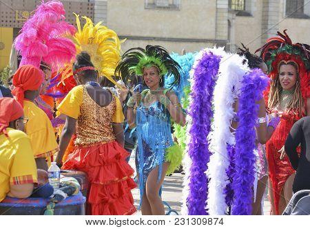 Le Mans, France - April 22, 2017: Festival Evropa Jazz A Carnival Dancer On The Parade. Woman Dancin