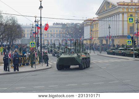 Saint Petersburg, Russia - May 09, 2017: Column Of Self-propelled Guns