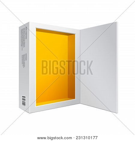 Opened White Modern Software Package Box Yellow Orange Inside For Dvd, Cd Disk Or Other Your Product