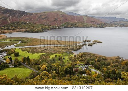 Veiw From A Viewpoint High Above Derwent Water, Lake District, Cumbria, Uk