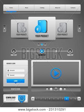 Modern Clean Website Design Elements Grey Blue Gray 2: Navigation Bar, Download, Pagination, Video,