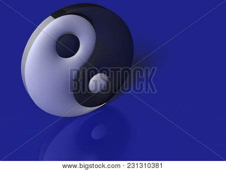 3d Illustration. A Yin Yang Sign On A Blue Background