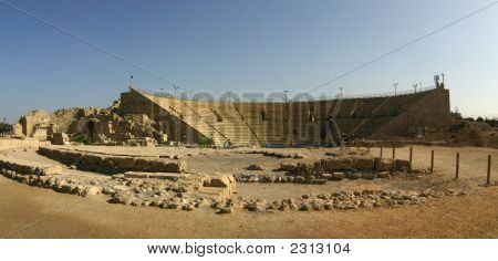 Remains Of The Ancient Roman Theater In Caesarea, Israel