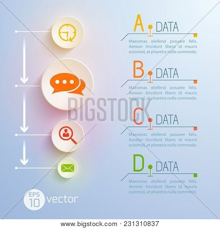 Square Concept With Vertical Flowchart Composition Of Circle Internet Communication Icons And Column