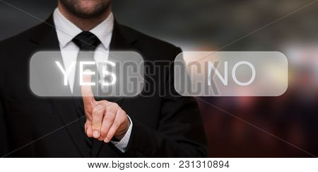 Business Pressing Yes Button On Touch Screen