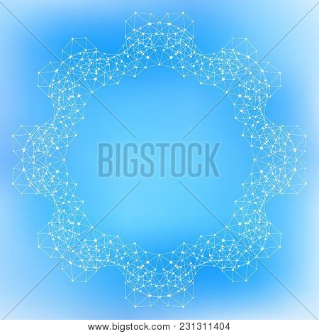 Geometric Abstract Form With Connected Lines And Dots, Illustration