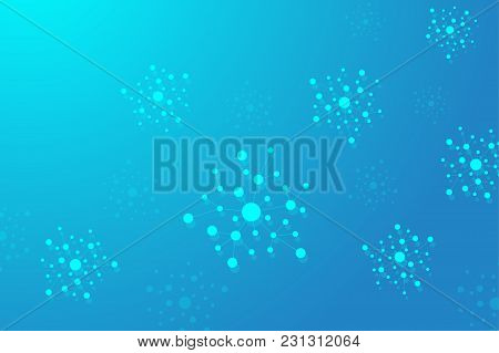 Colorful Graphic Background Molecule And Communication. Connection Line With Dots For Your Design, I