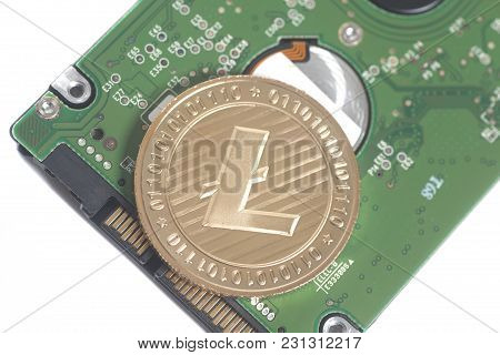 Computer Hard Disk Drive Hdd For Notebook With Litecoin Isolated On White