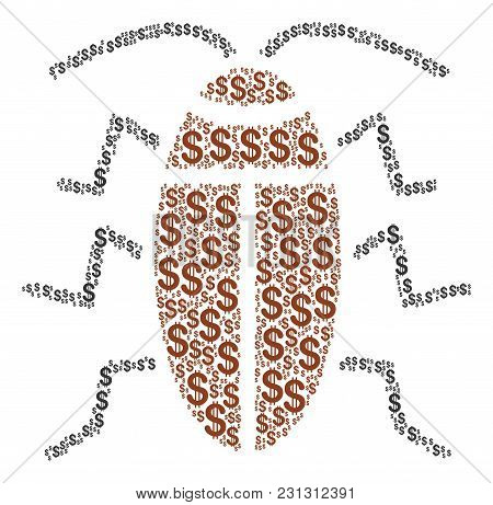 Cockroach Composition Of Dollar Symbols. Vector Dollar Pictograms Are Composed Into Cockroach Mosaic