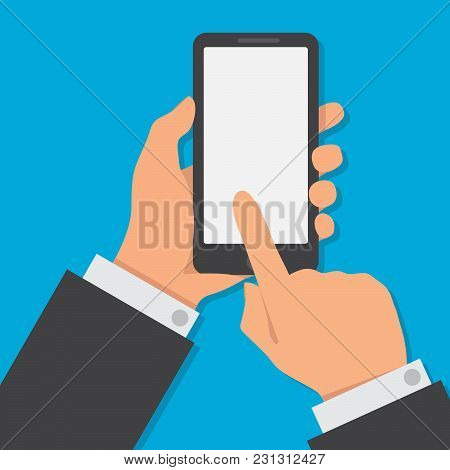 Hand Holding Smartphone With Blank Browser Window On The Screen. Using Mobile Smart Phone, Flat Desi