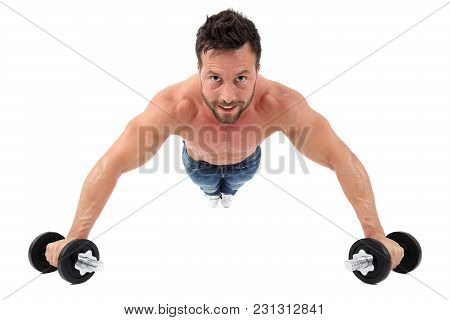 Muscular Male Performing Push-ups In Front Of White Background