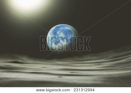 Collage On The Theme: Space View From The Moon To The Planet Earth.