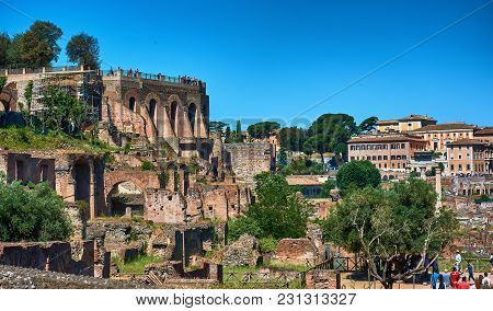 Roman Forum, Rome, Italy - May 17, 2017: Ruins At The Roman Forum. It Is A Rectangular Forum Surroun