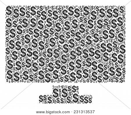Computer Display Mosaic Of Dollar Symbols. Vector Dollar Currency Icons Are Combined Into Computer D