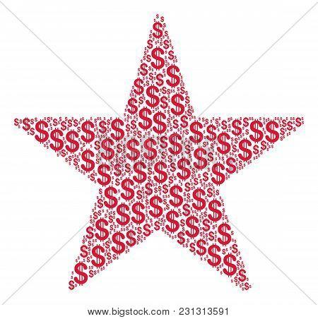 Confetti Star Collage Of American Dollars. Vector Dollar Currency Symbols Are Composed Into Confetti