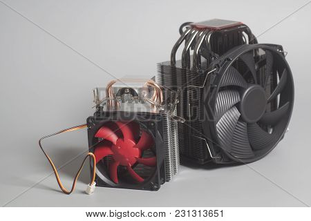 Two Fan Coolers For Pc On Gray Background