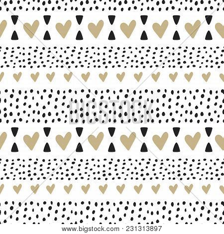 Vector Cute Seamless Pattern. Doodle Illustration In Sketch Style. Cartoon Bstract Background With H