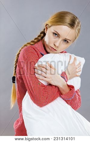Mental Health Depression Insomia Concept. Sad Depressive Young Woman Teen Blonde Girl Wearing Red Pa