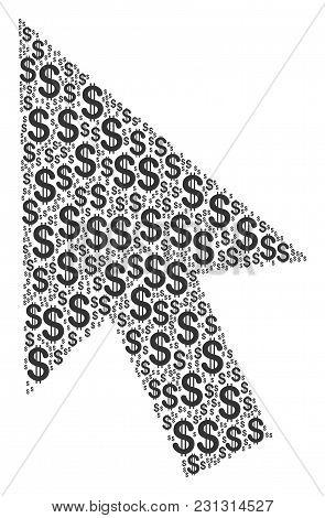 Cursor Arrow Mosaic Of Dollars. Vector Dollar Currency Pictograms Are United Into Cursor Arrow Illus