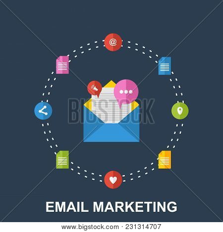 Flat Illustration Of Email Marketing Design Concept With Cloud Of Colorful Application Icons On Medi