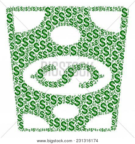 Dollar Banknote Collage Of Dollar Symbols. Vector Dollar Symbols Are Grouped Into Dollar Banknote Il