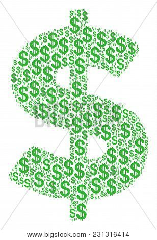 Dollar Mosaic Of American Dollars. Vector Dollar Pictograms Are Organized Into Dollar Mosaic.