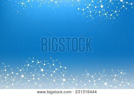 Geometric Graphic Background Molecule And Communication. Big Data Complex With Compounds. Lines Plex