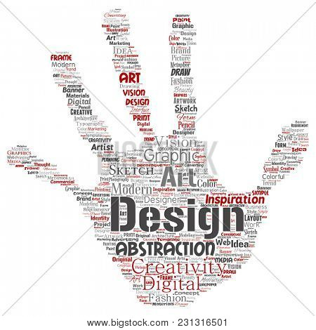 Conceptual creativity art graphic identity design visual hand print stamp word cloud isolated background. Collage of advertising, decorative, fashion, inspiration, vision, perspective modeling