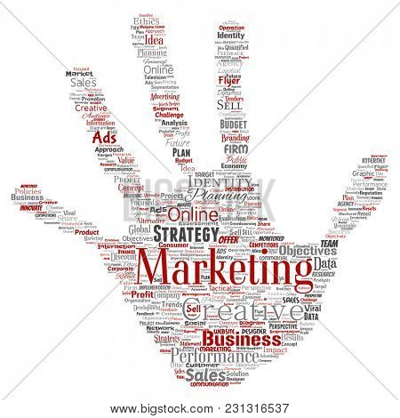 Conceptual development business marketing target hand print stamp word cloud isolated background. Collage advertising, strategy, promotion branding, value, performance planning or challenge