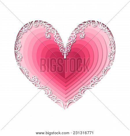Valentines Day Concept. Vector Abstract Heart. Paper Art Cut. Love Illustration. Craft Style. For We