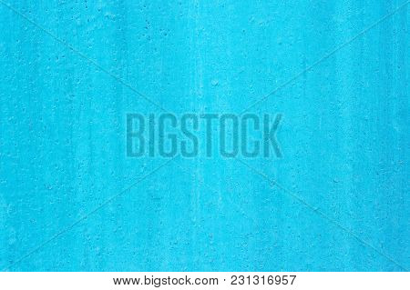 Texture Of The Old Painted Blue Surface With Damages And Cracks, Background.