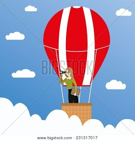 Business Woman With Binoculars In A Hot Air Balloon, Business Concept, Cartoon Vector Illustration.