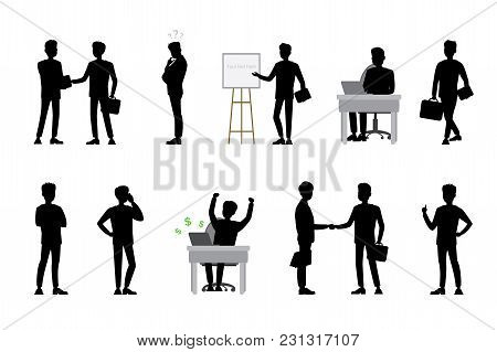 Silhouettes Of Businessmen In Different Poses And Actions, Isolated On White Background, Cartoon Vec