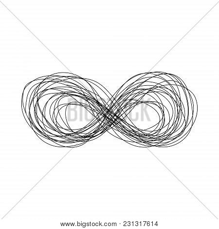 Abstract Hand Drawn Sketch Scribble Infinity Sign. Doodle Black Thin Line Eternity Symbol Of Forever