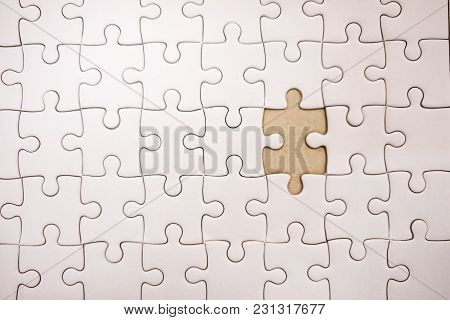 Top View. Business Background White Jigsaw With Copy Space. Image For Texture, Problem, Thinking, Id