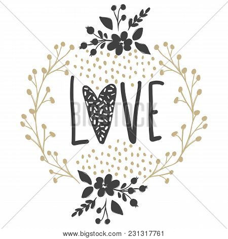 Vector Greeting Cards On Valentine's Day. Love, Heart, Flowers.