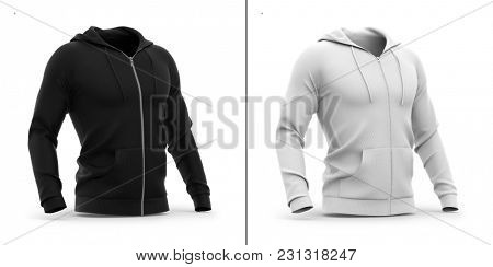 Men's zip-up hoodie. Sweatshirt with pockets. Half-front view. 3d rendering. Clipping paths included: whole object, hood, sleeve, ripe tie, zipper. Highlights and shadows template mock-up.
